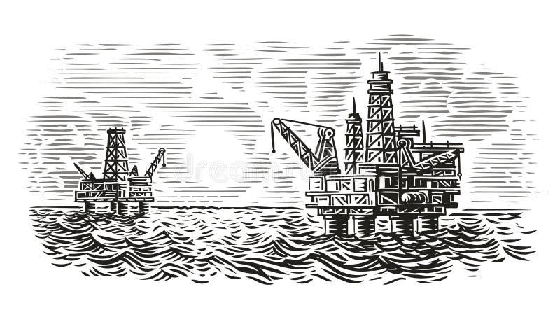 Оффшорная иллюстрация стиля гравировки буровой вышки Бурение нефтяных скважин моря вектор иллюстрация штока