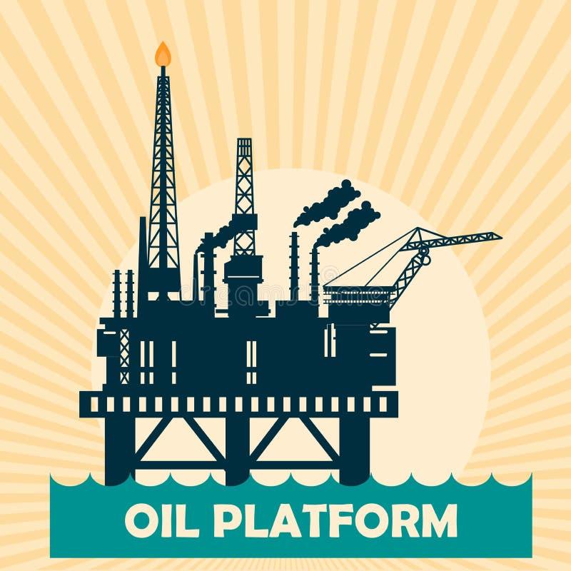 Оффшорная идея проекта нефтяной платформы установленная с нефтью Вертодром, краны, деррик-кран, столбец корпуса, спасательная шлю иллюстрация вектора