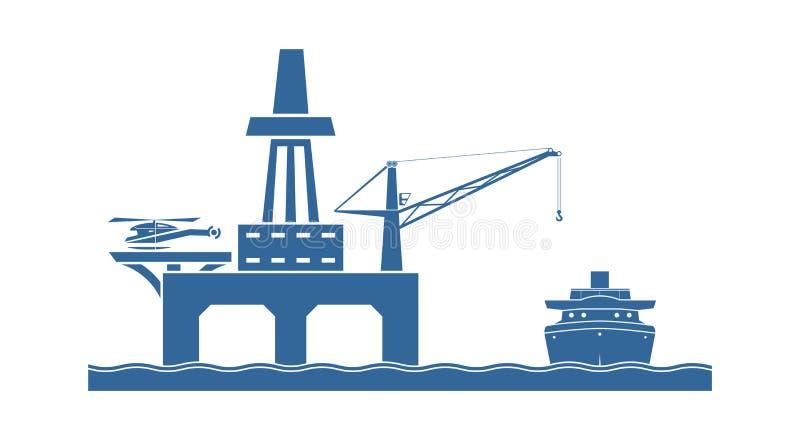 Оффшорная нефтяная платформа иллюстрация штока