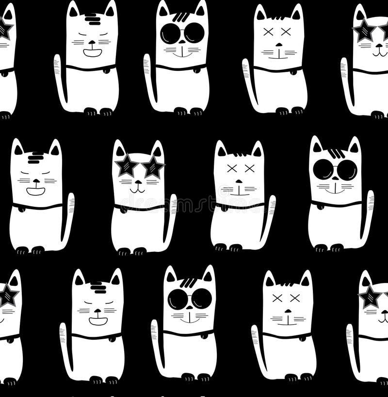 Охладите белых котов с различными характерами на черной предпосылке, безшовной предпосылке картины иллюстрация вектора
