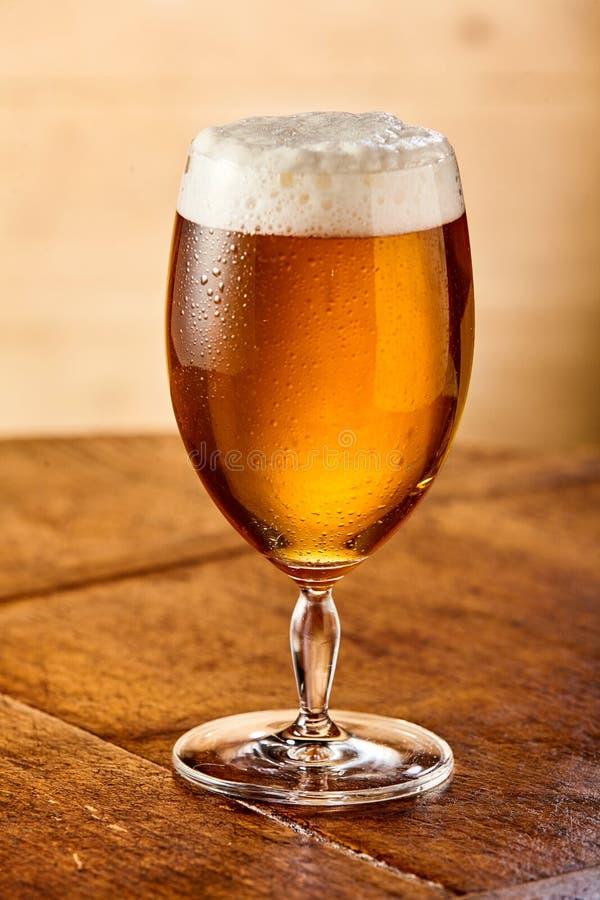Охлаженное пиво с пенистой головой в стекле стоковая фотография rf
