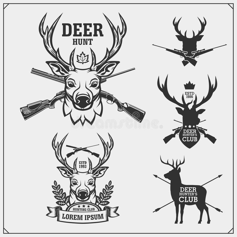 Охота оленей Установите винтажных охотясь ярлыков, значков и элементов дизайна иллюстрация вектора