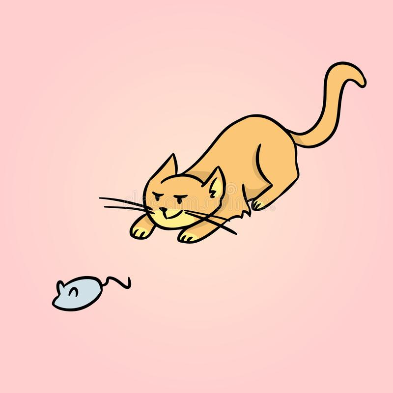 Охотиться иллюстрация детей мультфильма кота r иллюстрация вектора