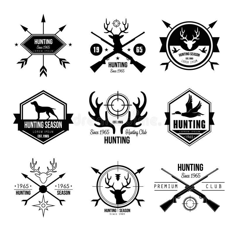 Охотиться элементов дизайна логотипа ярлыков значков иллюстрация вектора