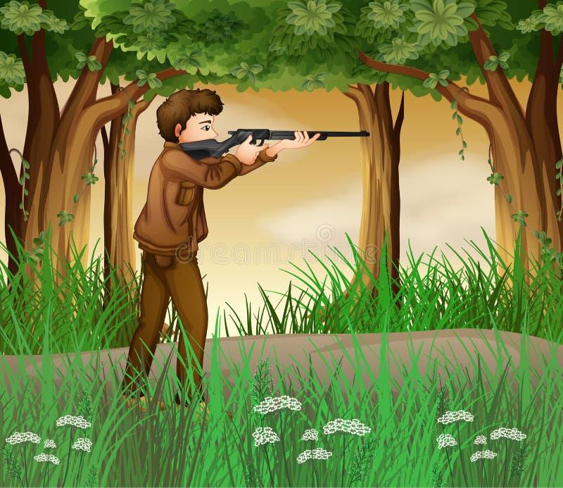 Охотник внутри джунглей иллюстрация вектора