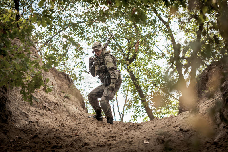 Охотник в лесе стоковые фото