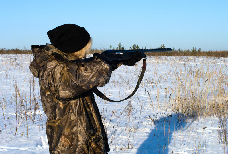 охотник девушки стоковая фотография