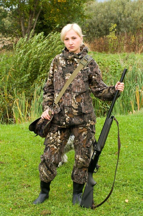 охотник девушки стоковое фото