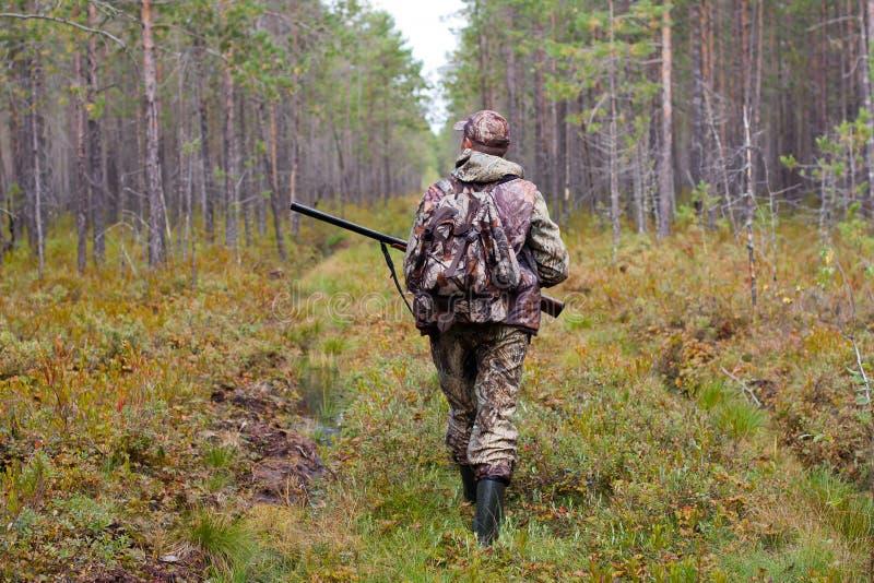 Охотник идя на дорогу леса стоковое фото rf