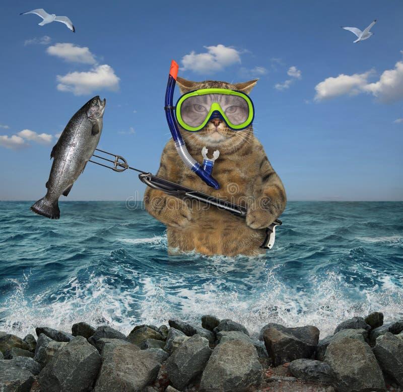 Охотник кота подводный с speargun стоковое изображение rf