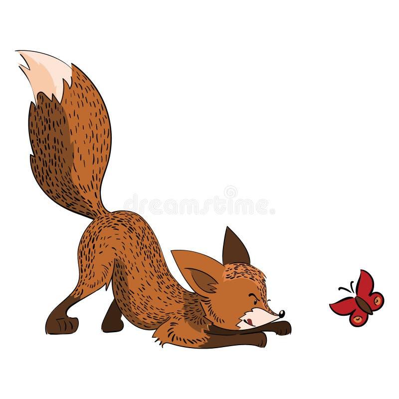 Охоты лисы шаржа бабочка Играют стилизованную лису с насекомым Иллюстрация вектора для детей бесплатная иллюстрация
