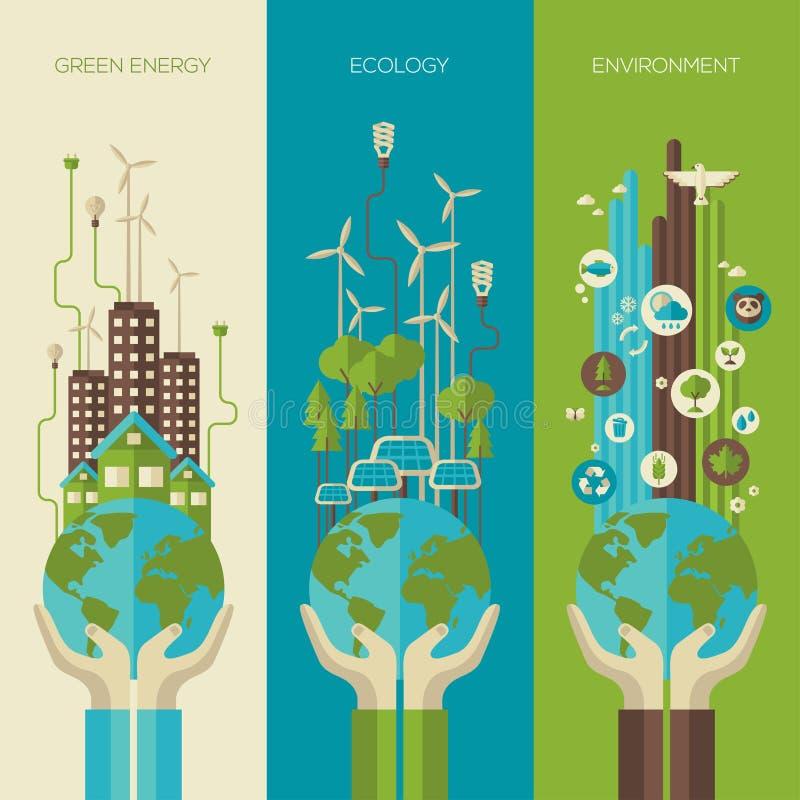 Охрана окружающей среды, вертикаль концепции экологичности иллюстрация вектора