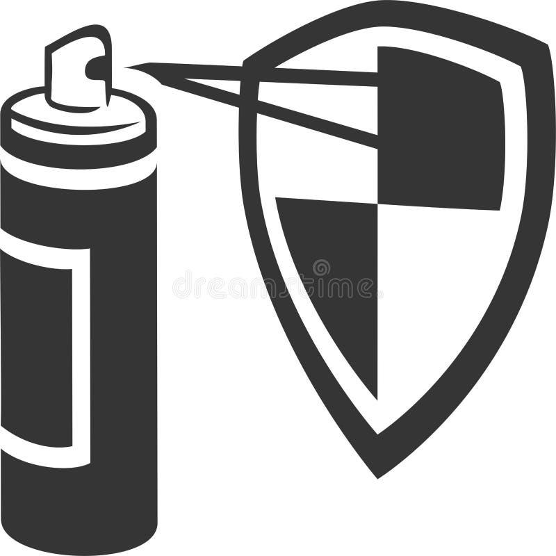 Охранительный щит баллончика распыляя иллюстрация штока