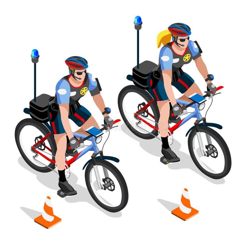 Охраните человека полиции вектора корабля велосипеда и полисмены женщины патрулируют иллюстрация вектора