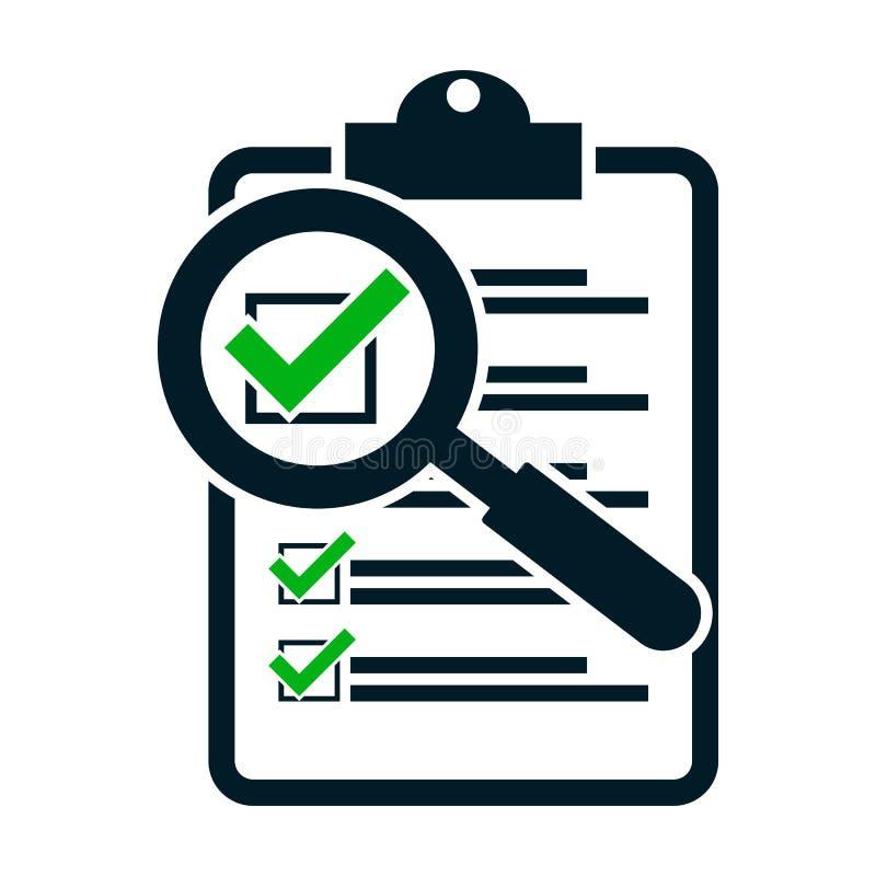 Оценка контрольного списока увеличивая Плоский значок дизайна бесплатная иллюстрация