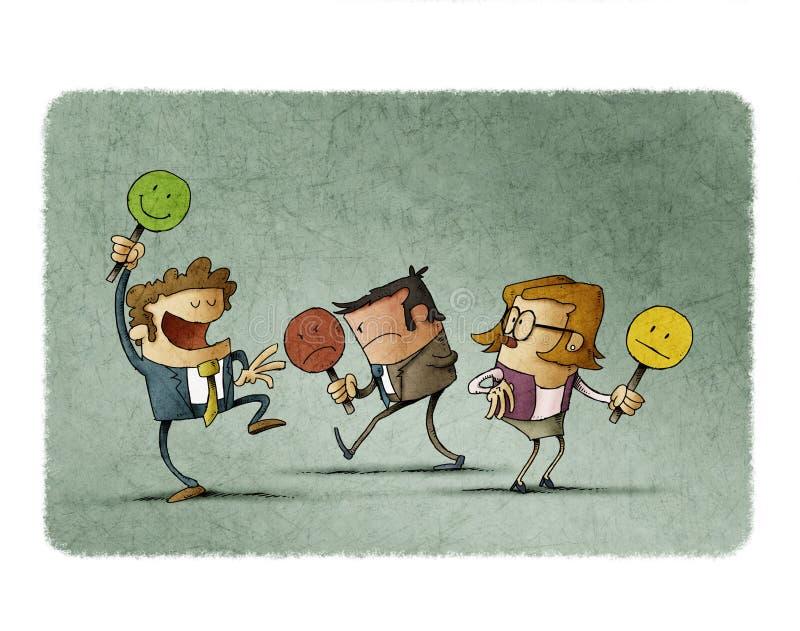 Оценка обзора потребителя или клиента обратной связи, иллюстрация штока