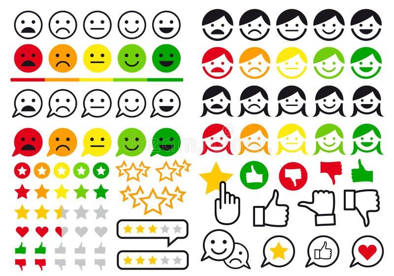 Оценка, обзор, emoji потребителя, плоские значки, комплект вектора бесплатная иллюстрация