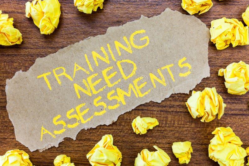 Оценки потребности тренировки текста сочинительства слова Концепция дела для определяет тренировку необходима, что заполнила зазо стоковые изображения rf