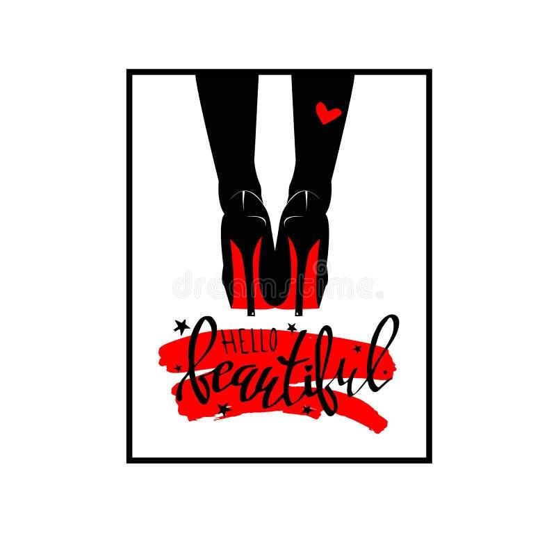 Очарование символа одежды покупок чертежа ноги женщин женственное иллюстрация штока