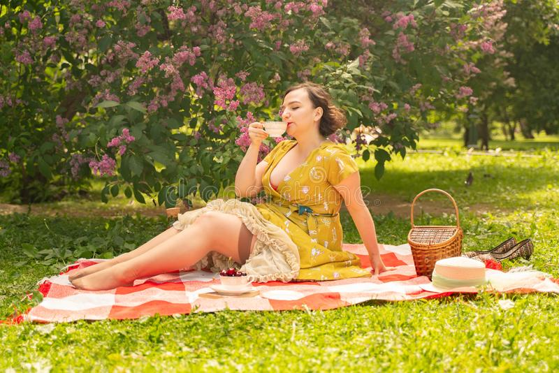 Очаровательная маленькая девочка наслаждается остатками и пикником на зеленой траве лета самостоятельно довольно женщина имеет пр стоковые изображения