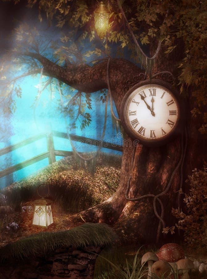 Очаровательная фантазия времени дерева часов иллюстрация вектора