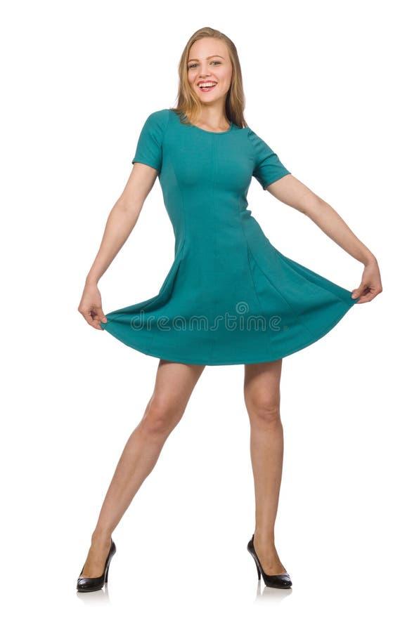 Очаровательная кавказская женщина нося зеленое платье изолированное на белизне стоковая фотография rf