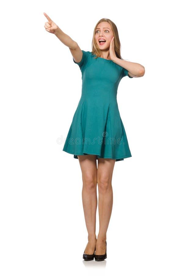 Очаровательная кавказская женщина нося зеленое платье на белизне стоковое изображение rf