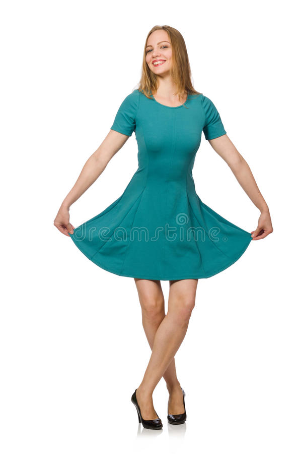 Очаровательная кавказская женщина нося зеленое платье на белизне стоковые изображения rf