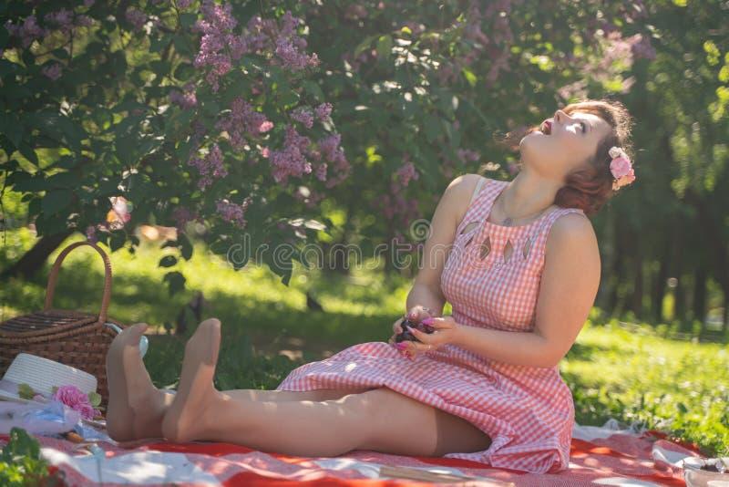 Очаровывая девушка pinup наслаждается остатками и пикником на зеленой траве лета женщина милого винтажного стиля кавказская потра стоковые изображения