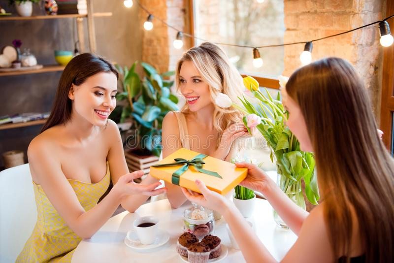 3 очаровывая, милые девушки давая настоящие моменты друг к другу, cele стоковые изображения