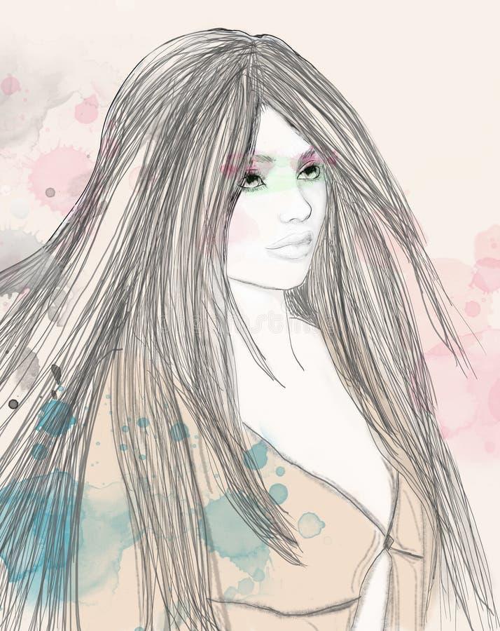 Очаровывая молодой брюнет с длинными волосами иллюстрация вектора