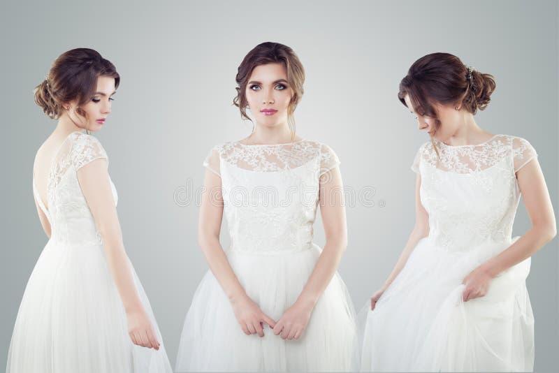 Очаровывая невеста молодой женщины в белом портрете платья свадьбы Красивая женская модель с макияжем и bridal стилем причесок стоковые фотографии rf