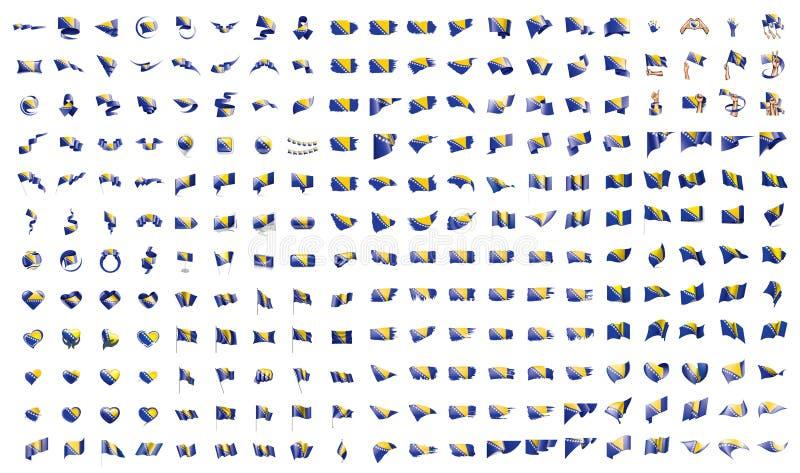 Очень большое собрание флагов вектора Боснии и Герцеговины иллюстрация штока