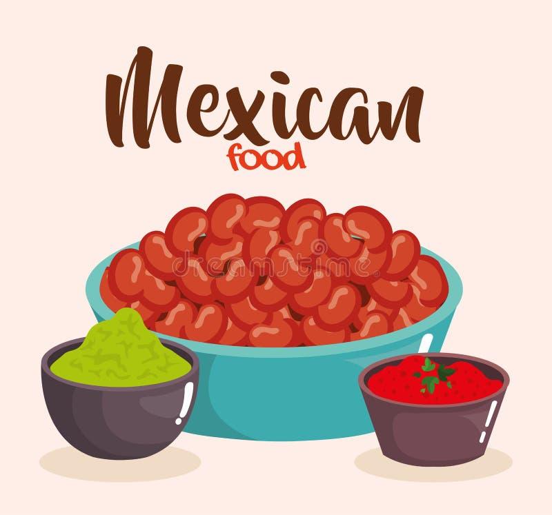 Очень вкусная мексиканская еда и соусы бесплатная иллюстрация