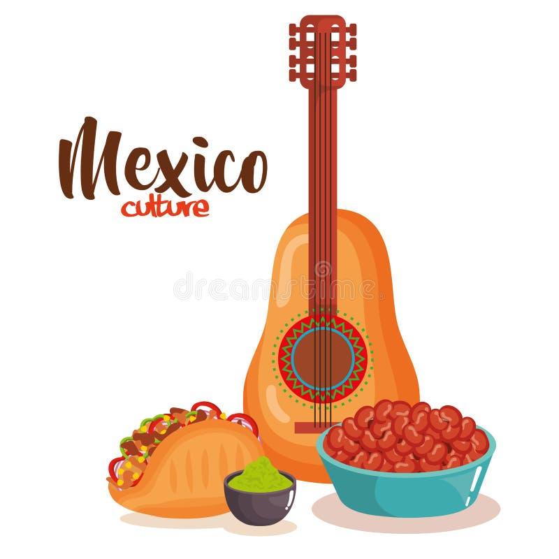Очень вкусная мексиканская еда с гитарой иллюстрация штока