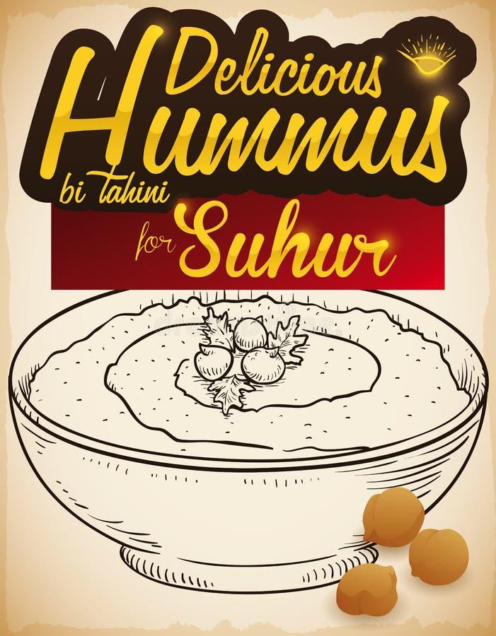 Очень вкусное блюдо и нуты Hummus для завтрака во время Рамазана, иллюстрации Suhur вектора иллюстрация вектора