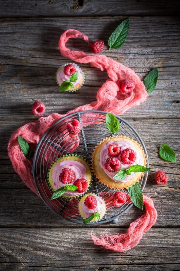 Очень вкусное пирожное поленики сделанное из сливк и плодоовощей стоковое фото rf