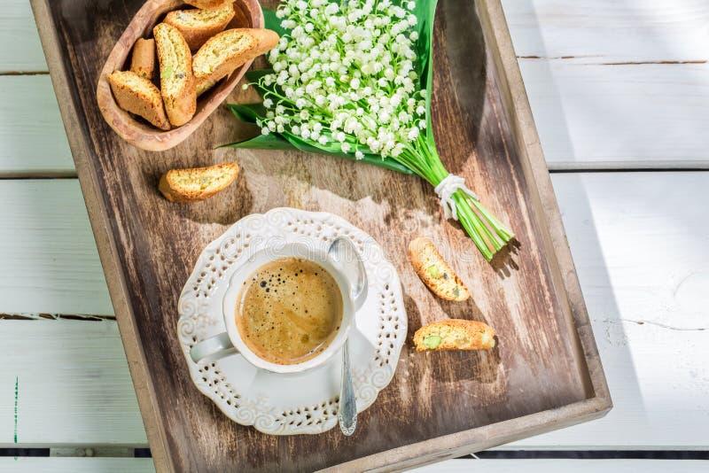 Очень вкусное cantucci с эспрессо стоковое фото rf