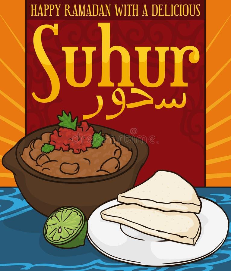 Очень вкусное Ful Medames с хлебом для Suhur Пре-голодая во время Рамазана, иллюстрации вектора иллюстрация вектора