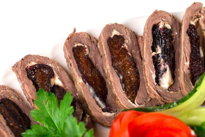 Очень вкусные зажаренные в духовке крены свинины стоковые фотографии rf