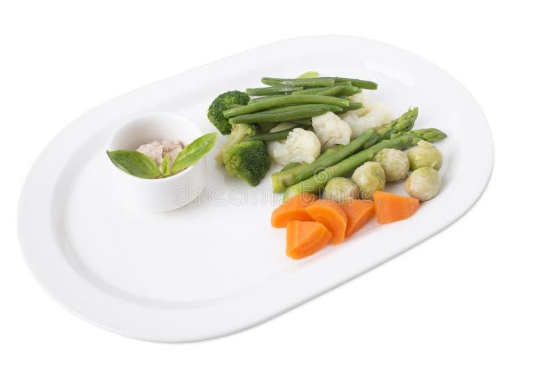 Очень вкусные испаренные овощи с соусом тофу стоковое изображение
