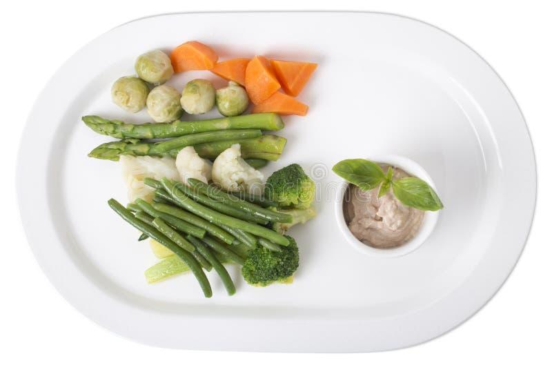 Очень вкусные испаренные овощи с соусом тофу стоковое изображение rf