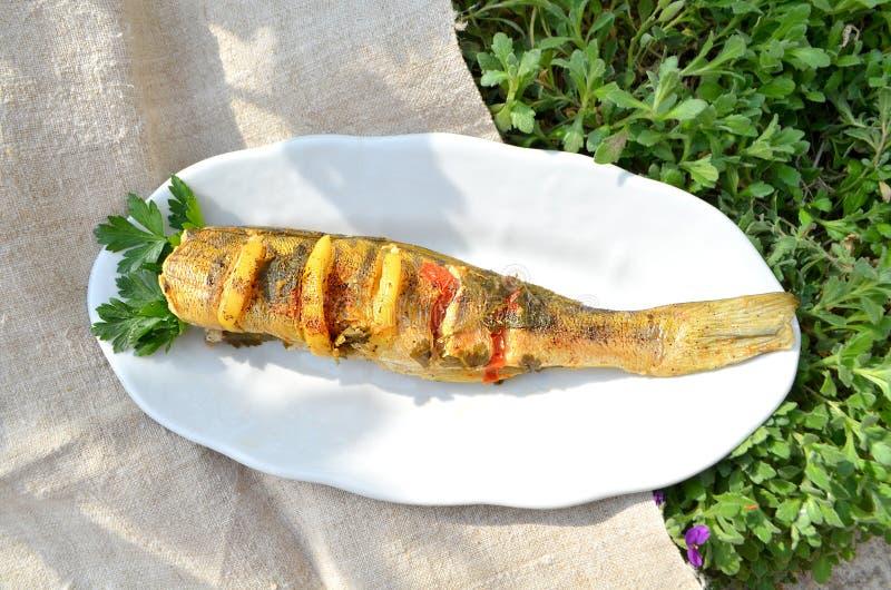 Очень вкусные испеченные рыбы стоковые фото