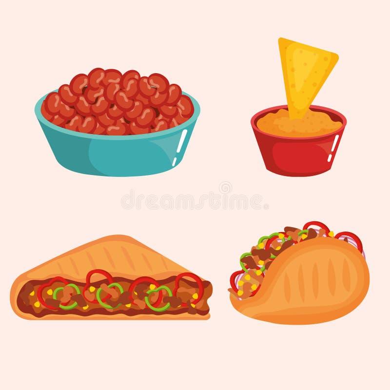 Очень вкусные мексиканские значки еды иллюстрация штока