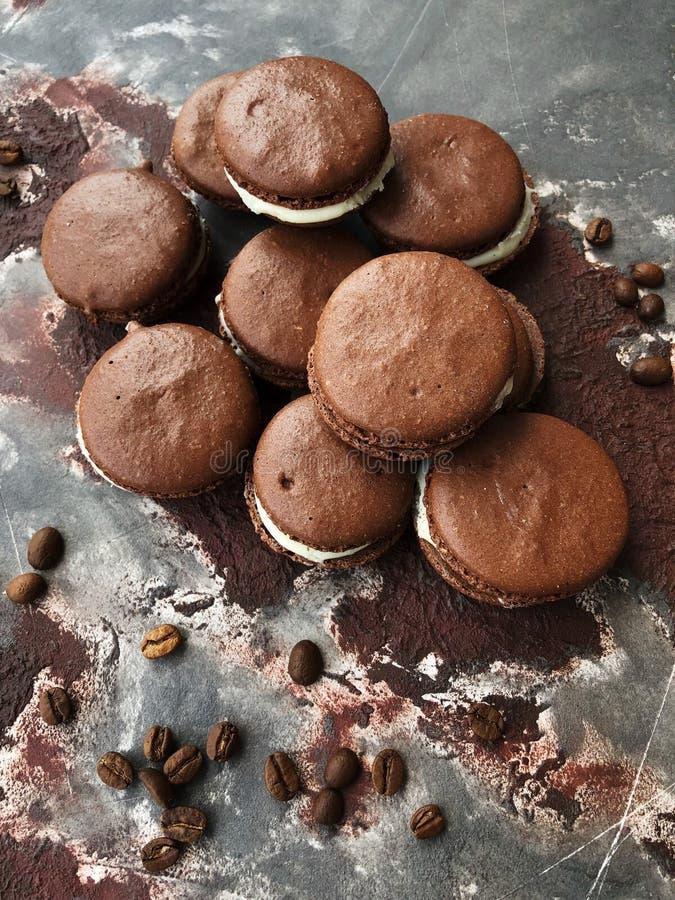 Очень вкусные печенья шоколада с ванильным взглядом сливк стоковое фото