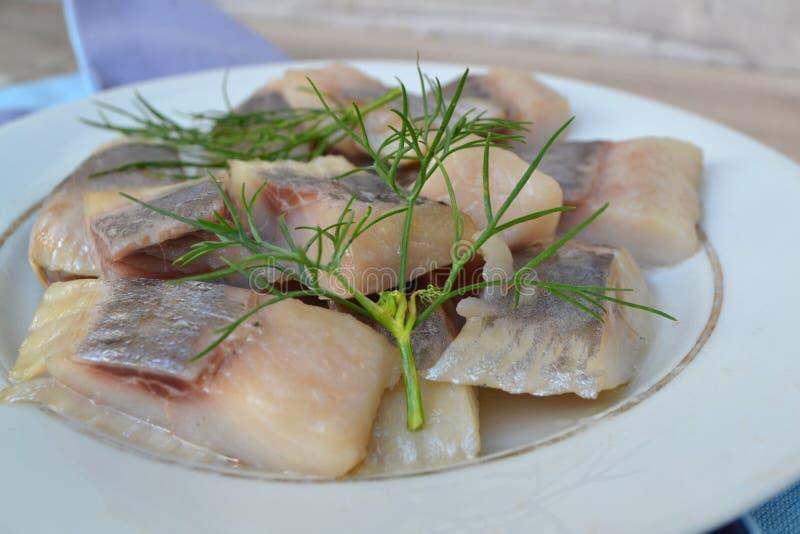 Очень вкусные посоленные сельди с укропом, солью и перцем на старой белой плите стоковое изображение rf