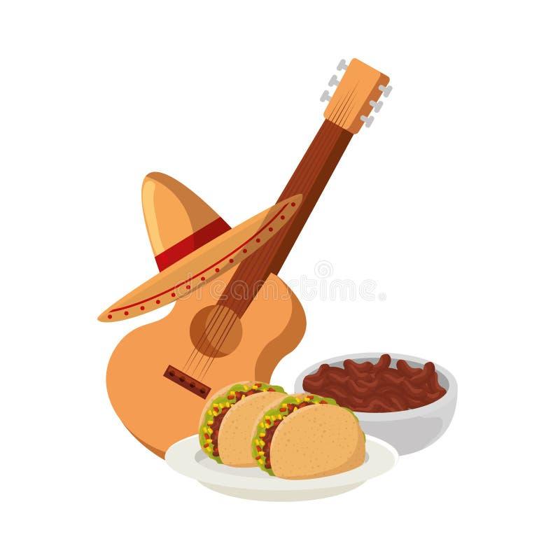 Очень вкусные тако и мексиканская кухня гитары иллюстрация штока