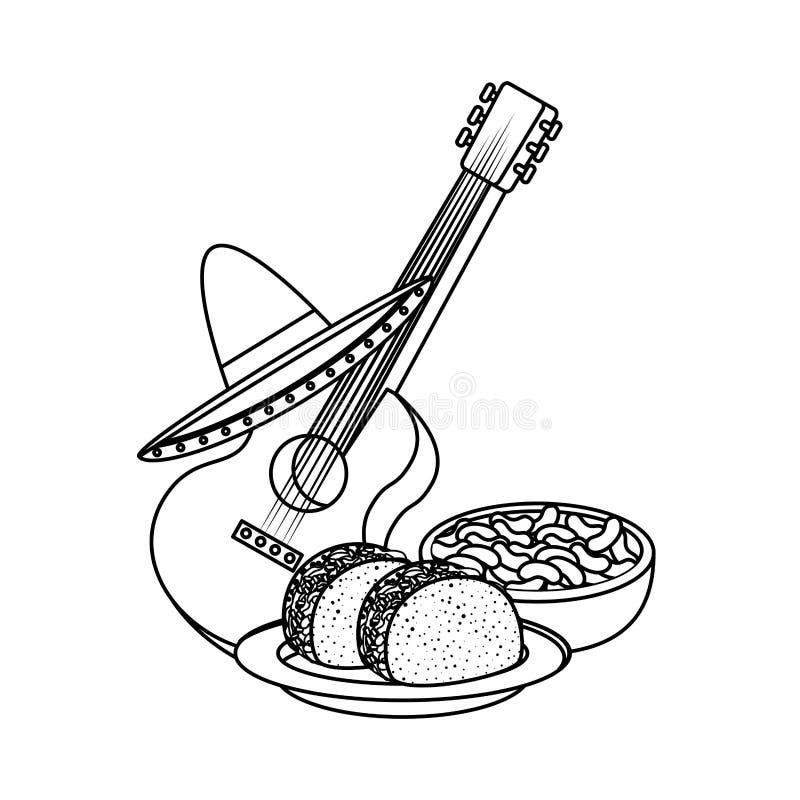 Очень вкусные тако с мексиканской кухней гитары и шляпы иллюстрация вектора