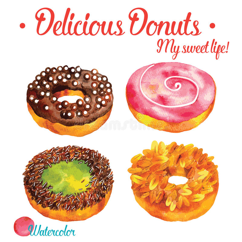 Очень вкусные donuts в комплекте иллюстрации вектора акварели стоковые изображения