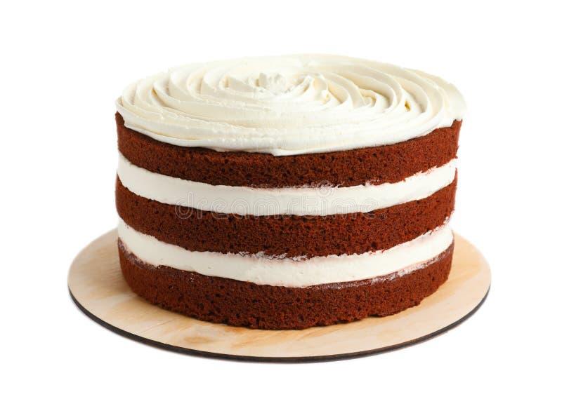 Очень вкусный домодельный красный торт бархата стоковые изображения rf